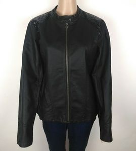 Maurices black leather jacket size L